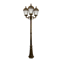 Royal Bulb Solar Lamp Post - W/Gs Solar Light Bulb - Triple Lamps