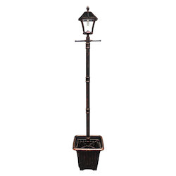 Baytown Bulb Solar Lamp W/ Planter And Ez Anchor - Brushed Bronze