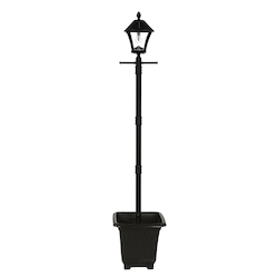 Baytown Bulb Solar Lamp W/ Planter And Ez Anchor - Black