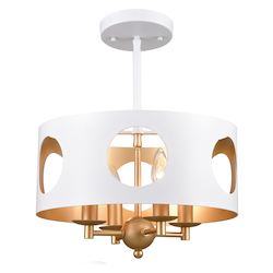 Crystorama ODE-700-MT-GA Odelle 4 Light White And Gold Ceiling Pendant