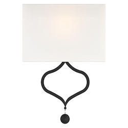 Crystorama DER-401-BF Derby 1 Light Black Forged Wall Mount