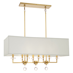 Crystorama 8109-AG Paxton 8 Light Antique Gold Brass Linear Chandelier