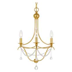 Crystorama 423-GA Metro 3 Light Antique Gold Mini Chandelier