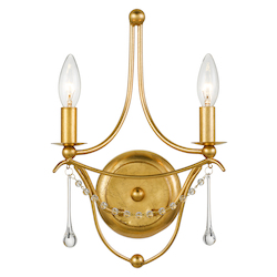 Crystorama 422-GA Metro 2 Light Antique Gold Sconce