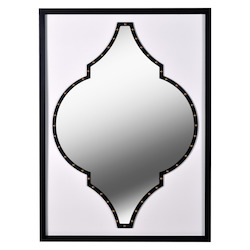 Kenroy Home 60440 Mirror With Faux White Leather And Black Wood Frame