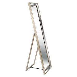 Kenroy Home 60432 Stand Mirror With Beveled Mirror And Champagne Bead Frame