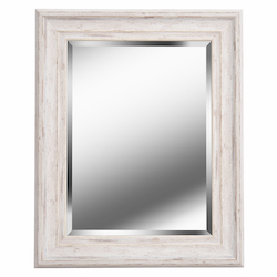 Kenroy Home 60353 Beveled Mirror W/Distressed White Wood Finish Frame