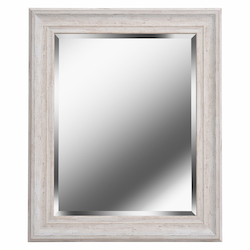 Kenroy Home 60352 Beveled Mirror W/Distressed White Wood Finish Frame