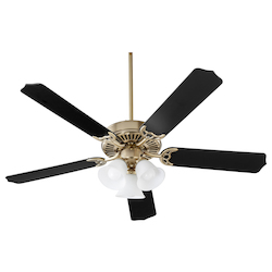 Quorum 7525-3080 3 Lights Aged Brass Ceiling Fan