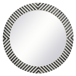 Elegant Decor MR52828 Round Mirror 28 Inch In Chevron