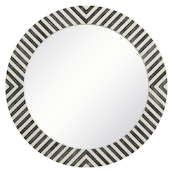 Elegant Decor MR52424 Round Mirror 24 Inch In Chevron
