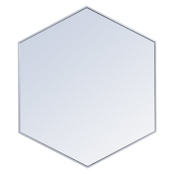 Elegant Decor MR4541S Metal Frame Hexagon Mirror 41 Inch In Silver