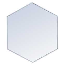 Elegant Decor MR4538S Metal Frame Hexagon Mirror 38 Inch In Silver