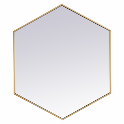 Elegant Decor MR4538BR Metal Frame Hexagon Mirror 38 Inch In Brass