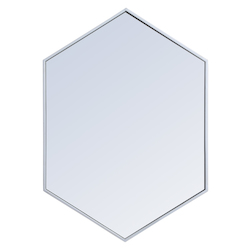 Elegant Decor MR4424S Metal Frame Hexagon Mirror 24 Inch In Silver