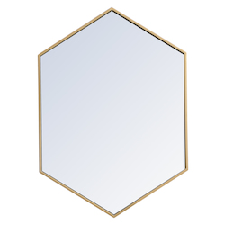 Elegant Decor MR4424BR Metal Frame Hexagon Mirror 24 Inch In Brass