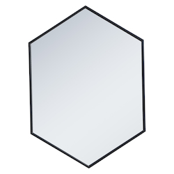 Elegant Decor MR4424BK Metal Frame Hexagon Mirror 24 Inch In Black