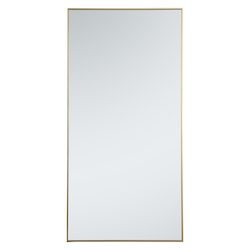 Elegant Decor MR43672BR Metal Frame Rectangle Mirror 36 Inch In Brass