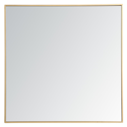 Elegant Decor MR43636BR Metal Frame Square Mirror 36 Inch In Brass