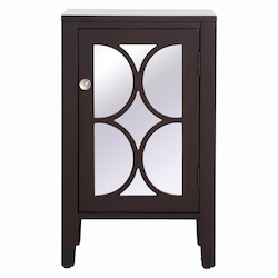 Elegant Decor MF82035DT 18 Inch Mirrored Cabinet In Dark Walnut