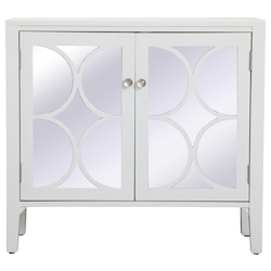 Elegant Decor MF82002WH 36 Inch Mirrored Cabinet In White