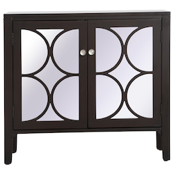 Elegant Decor MF82002DT 36 Inch Mirrored Cabinet In Dark Walnut