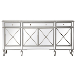 Elegant Decor MF6-2111SC 72 Inch Mirrored Credenza In Silver