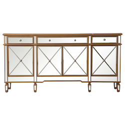 Elegant Decor MF6-2111GC 72 Inch Mirrored Credenza In Gold
