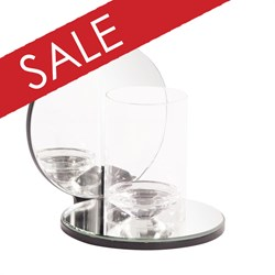 Single Clear Round Mirrored Hurricane Candleholder