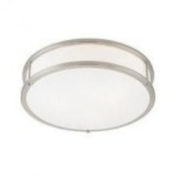 Access One Light Brushed Steel  Opal  Glass Drum Shade Flush Mount