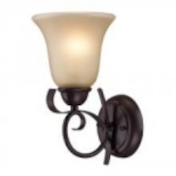 Elk Cornerstone One Light Oil Rubbed Bronze Light Amber Glass Wall Light