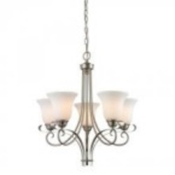 Elk Cornerstone Five Light Brushed Nickel White Glass Up Chandelier