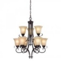 Elk Cornerstone Nine Light Oil Rubbed Bronze Light Amber Glass Up Chandelier