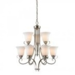 Elk Cornerstone Nine Light Brushed Nickel White Glass Up Chandelier
