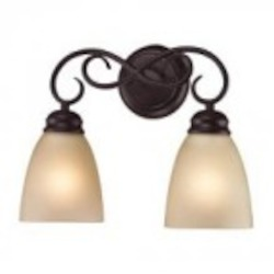 Elk Cornerstone Two Light Oil Rubbed Bronze Light Amber Glass Vanity