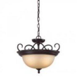 Elk Cornerstone Two Light Oil Rubbed Bronze Light Amber Glass Up Pendant