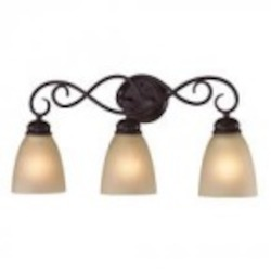 Elk Cornerstone Three Light Oil Rubbed Bronze Light Amber Glass Vanity