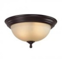 Elk Cornerstone Three Light Oil Rubbed Bronze Light Amber Glass Bowl Flush Mount