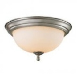 Elk Cornerstone Three Light Brushed Nickel White Glass Bowl Flush Mount