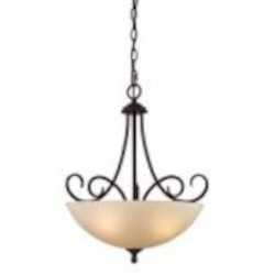 Elk Cornerstone Three Light Oil Rubbed Bronze Light Amber Glass Up Pendant