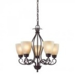Elk Cornerstone Five Light Oil Rubbed Bronze Light Amber Glass Up Chandelier