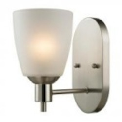 Elk Cornerstone One Light Brushed Nickel White Glass Wall Light