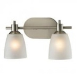 Elk Cornerstone Two Light Brushed Nickel White Glass Vanity