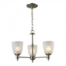 Elk Cornerstone Three Light Brushed Nickel White Glass Up Chandelier