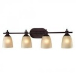 Elk Cornerstone Four Light Oil Rubbed Bronze Light Amber Glass Vanity