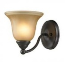 Elk Cornerstone One Light Oil Rubbed Bronze Amber Glass Bathroom Sconce
