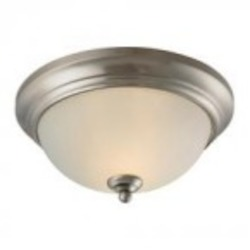 Elk Cornerstone Two Light Brushed Nickel Etched Glass Bowl Flush Mount
