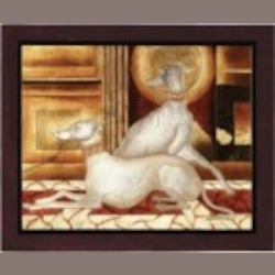 Lite Source Inc. Painting Twin Dogs From The Dogs Collection