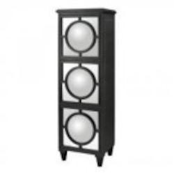 Sterling Industries Convex Mirror Shelf Unit In Gloss Black