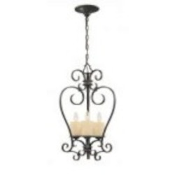 World Imports Three Light Bronze Open Frame Foyer Hall Fixture